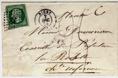 Lettre Du 7 Dcembre 1859 Affranchie 5 Centimes Tarif Des Cartes De Visite Taxe Manuscrite 25 30 Pour Une Non