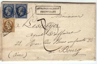 Lettre Du 7 Dcembre 1859 Affranchie 50 Centimes Ce Qui Ne Correspond Aucun Tarif Taxe Manuscrite De Dcimes
